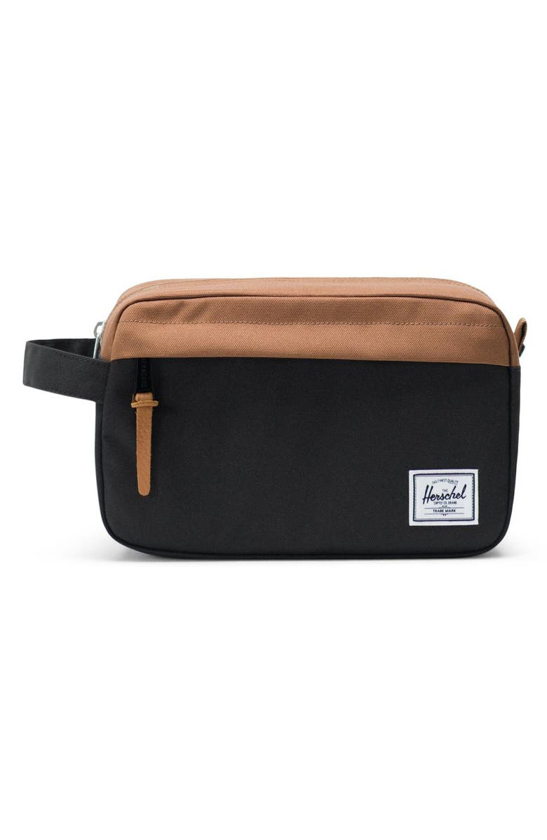 HERSCHEL SUPPLY CO. Chapter Toiletry Case, Main, color, BLACK/ SADDLE BROWN