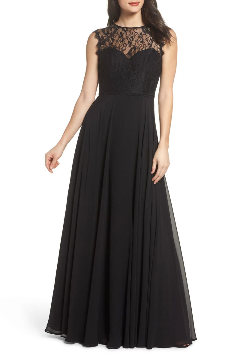 HAYLEY PAIGE OCCASIONS Lace & Chiffon Gown, Main, color, 001