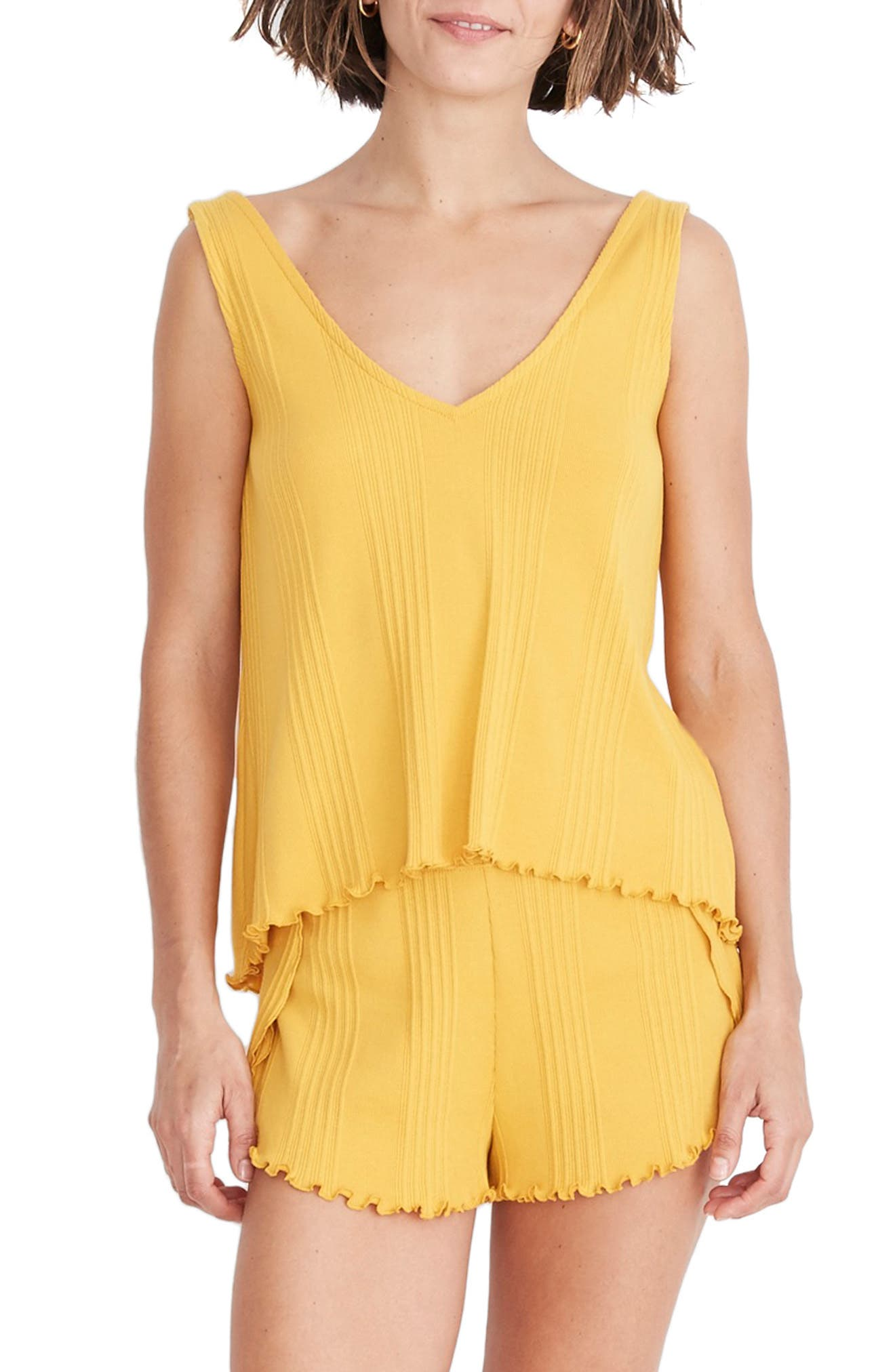 Madewell Ribbed Knit Pajama Tank Top, Yellow