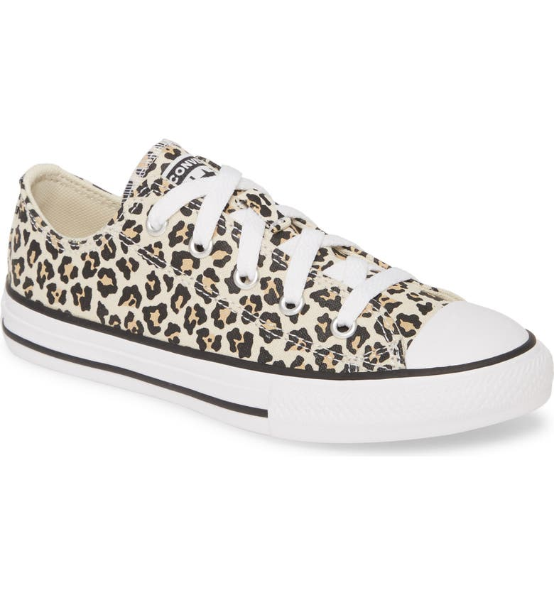CONVERSE Chuck Taylor<sup>®</sup> All Star<sup>®</sup> Leopard Spot Low Top Sneaker, Main, color, BLACK/ DRIFTWOOD/ LIGHT FAWN