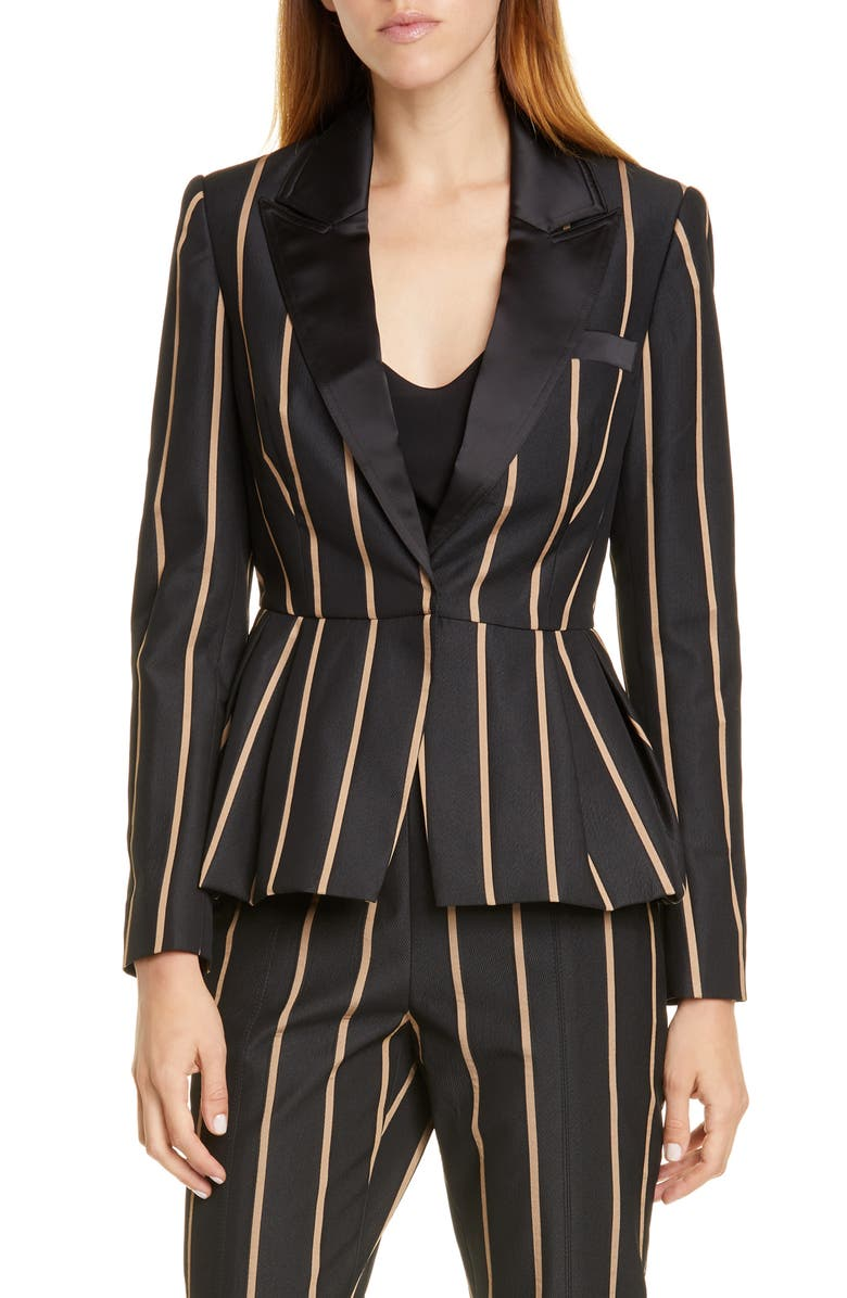 SELF-PORTRAIT Stripe Peaked Lapel Jacket, Main, color, BLACK/ BEIGE