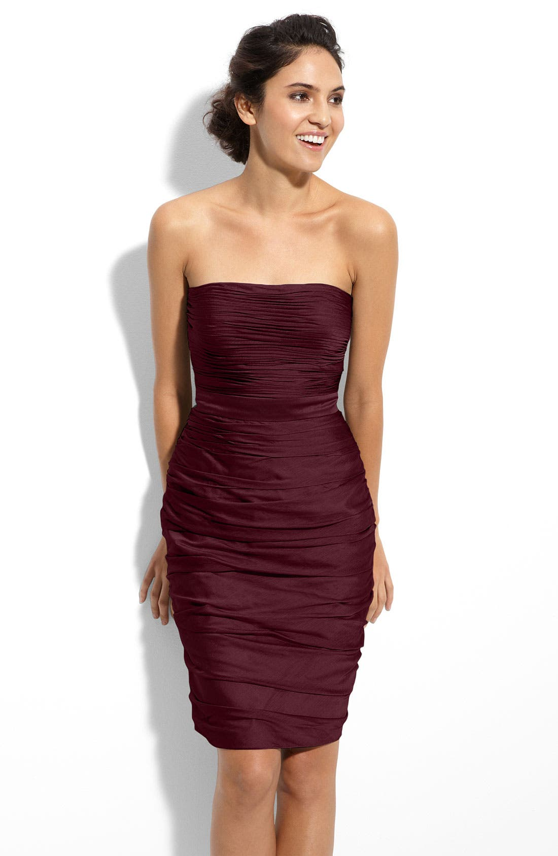 ,                             Ruched Strapless Cationic Chiffon Dress,                             Main thumbnail 54, color,                             505