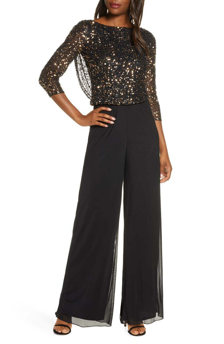 PISARRO NIGHTS Beaded Cowl Back Jumpsuit, Main, color, 001