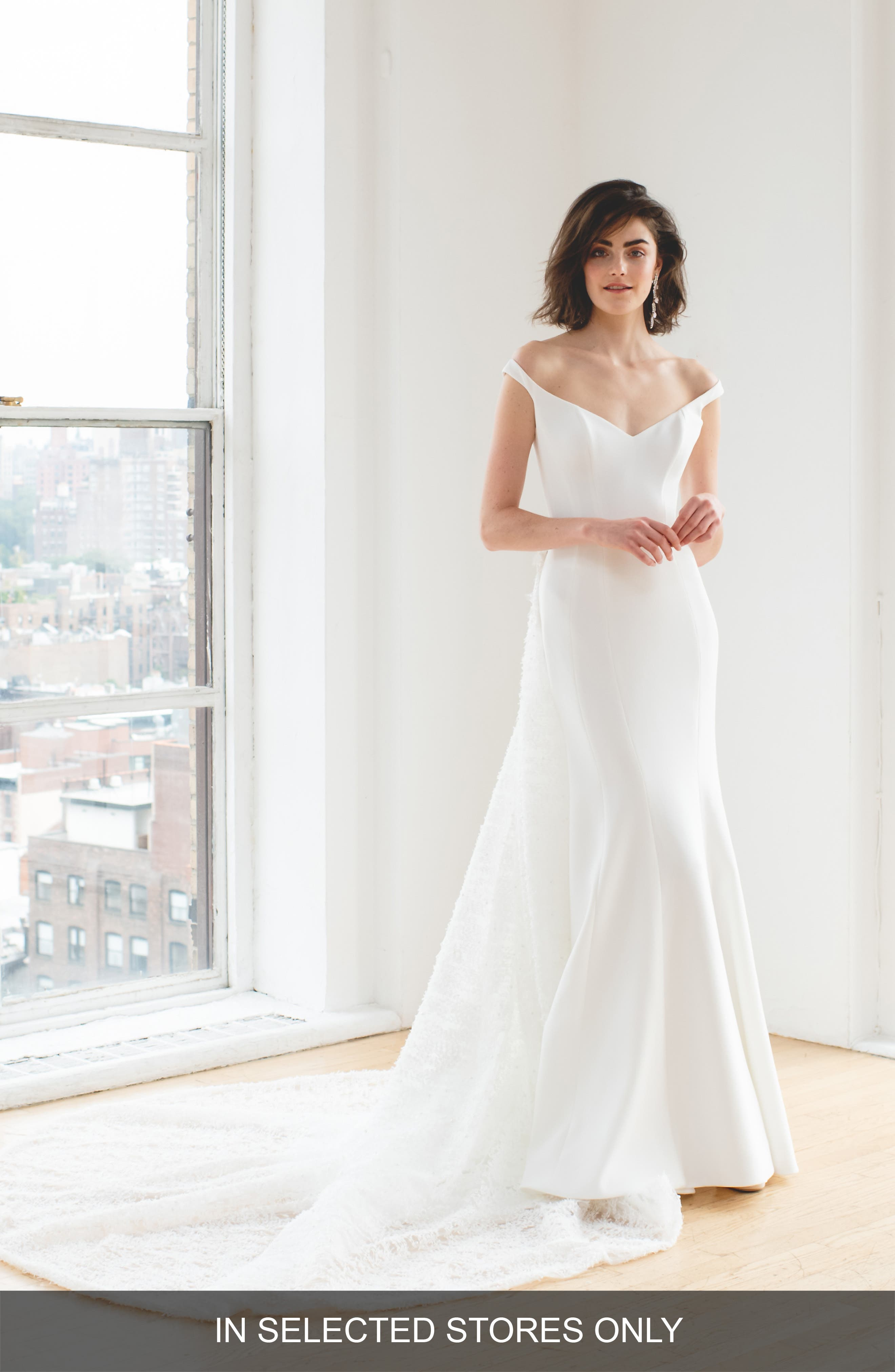 Ines By Ines Di Santo Maaike Off The Shoulder Wedding Dress, Size IN STORE ONLY - Ivory