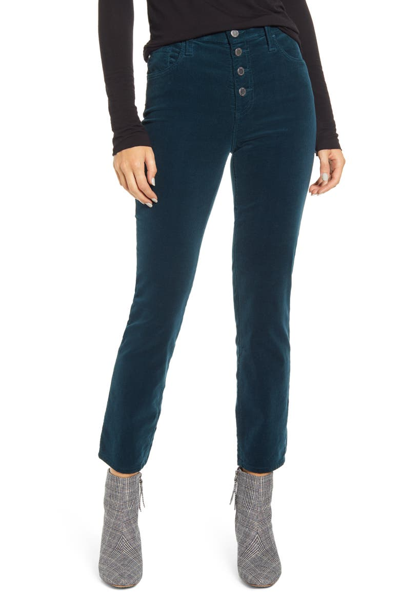 AG The Isabelle Button High Waist Ankle Straight Leg Jeans, Main, color, ROYAL LAGOON