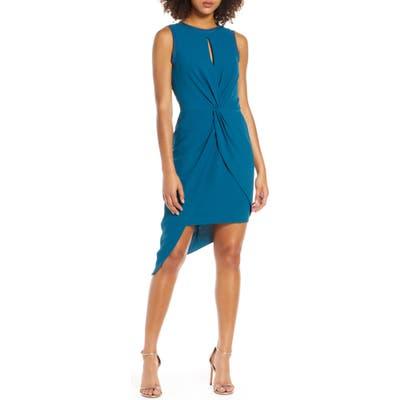 Harlyn Asymmetrical Sheath Dress, Blue
