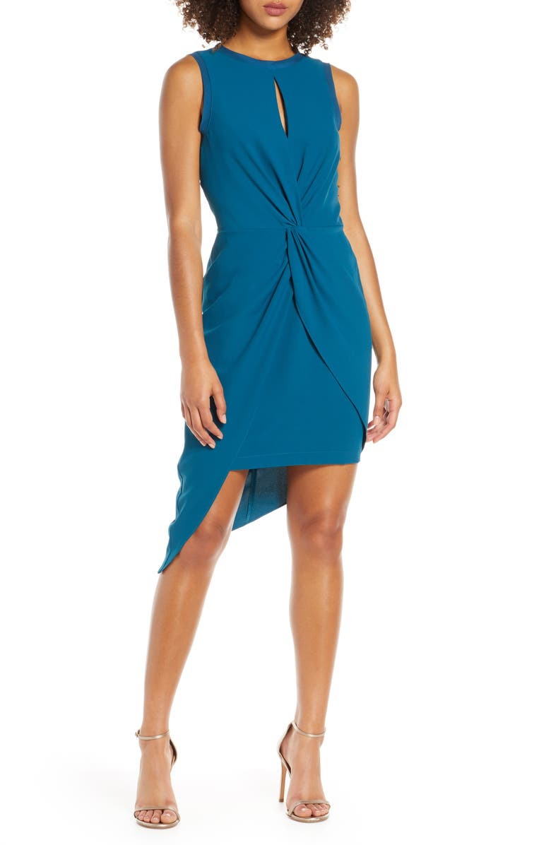 HARLYN Asymmetrical Sheath Dress, Main, color, TEAL
