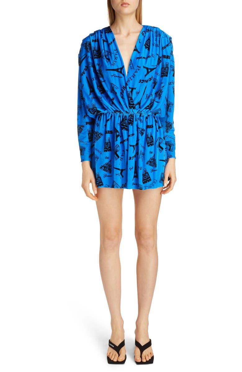 BALENCIAGA Tourist Print Long Sleeve Stretch Velvet Romper, Main, color, BLUE