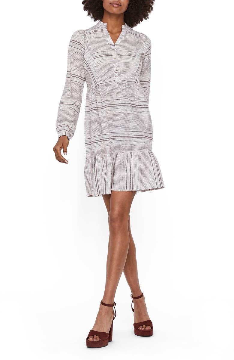 VERO MODA Hazel Long Sleeve Babydoll Dress, Main, color, SNOW WHITE W/ SABLE STRIPE