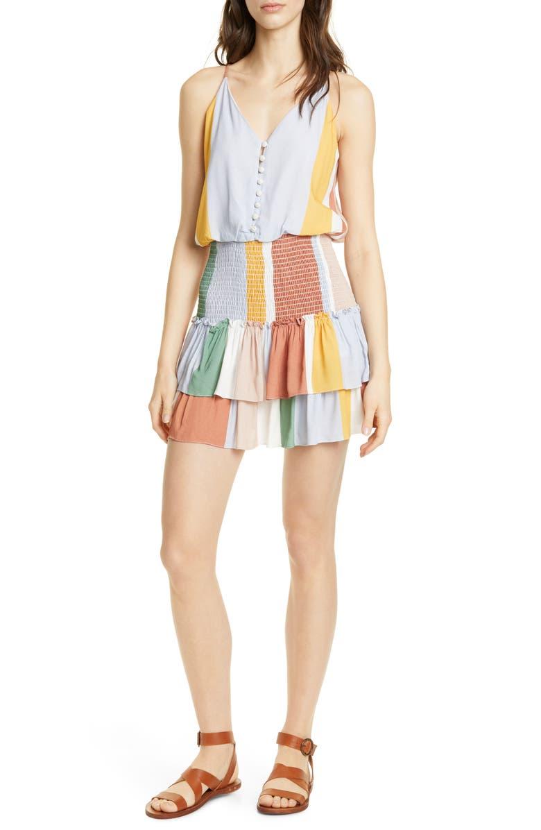 DOLAN Portia Smocked Waist Minidress, Main, color, SUNBAKED STRIPE