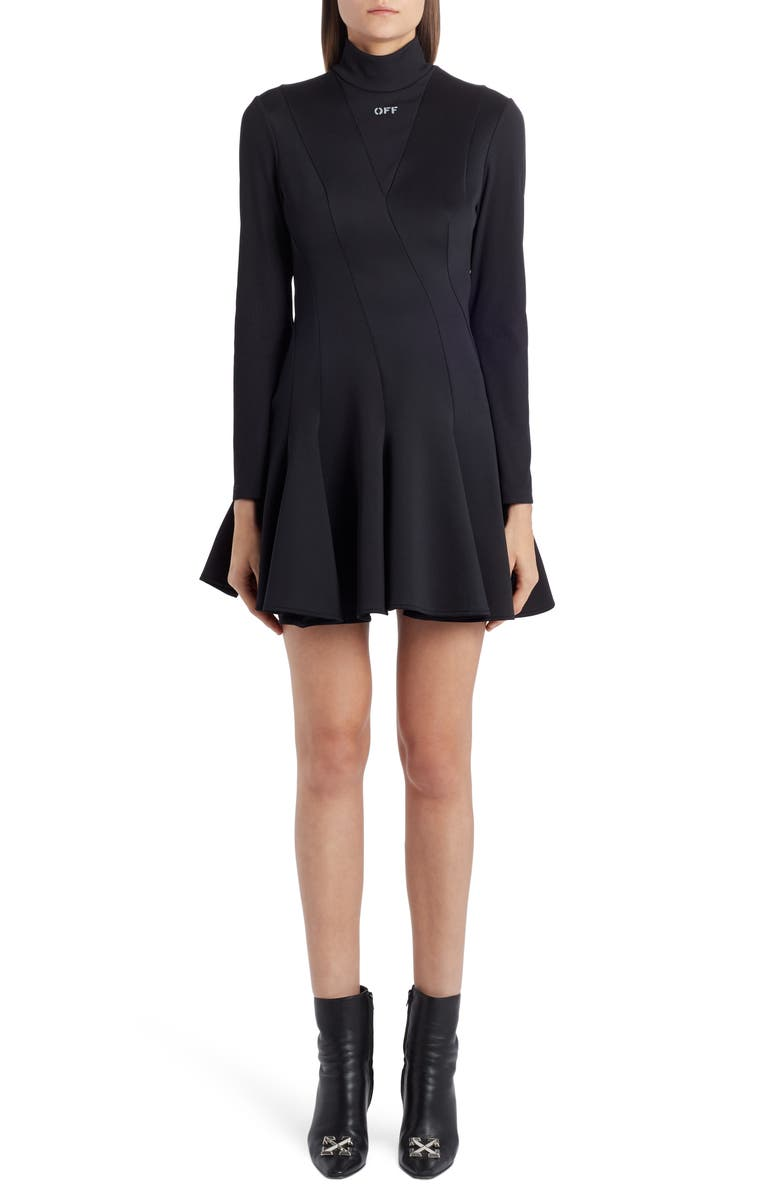 OFF-WHITE Multiwave Long Sleeve Minidress, Main, color, 001