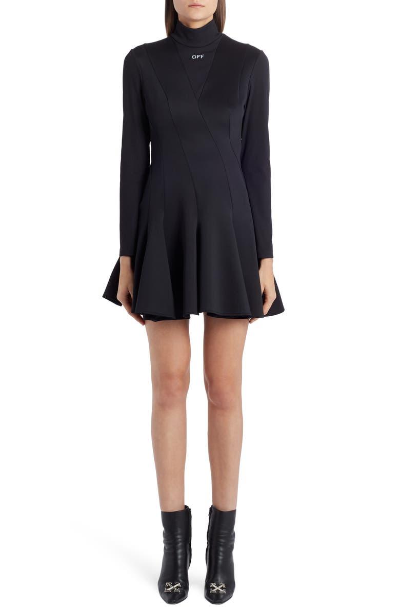 OFF-WHITE Multiwave Long Sleeve Minidress, Main, color, BLACK WHITE