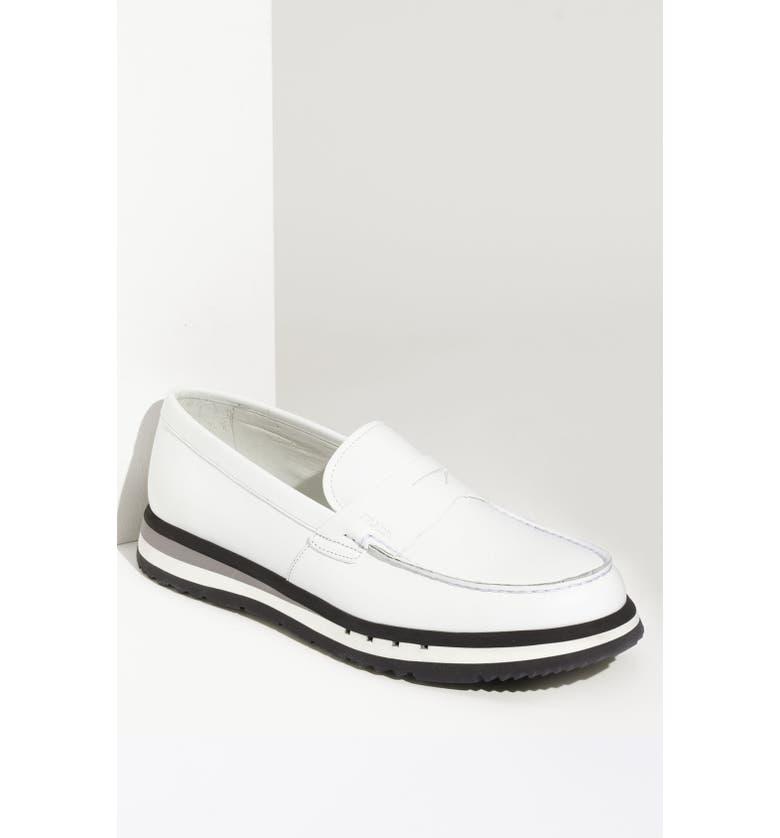 PRADA Penny Loafer Slip-On, Main, color, 100
