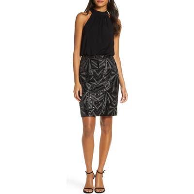 Vince Camuto Halter Neck Geo Embellished Blouson Dress, Black