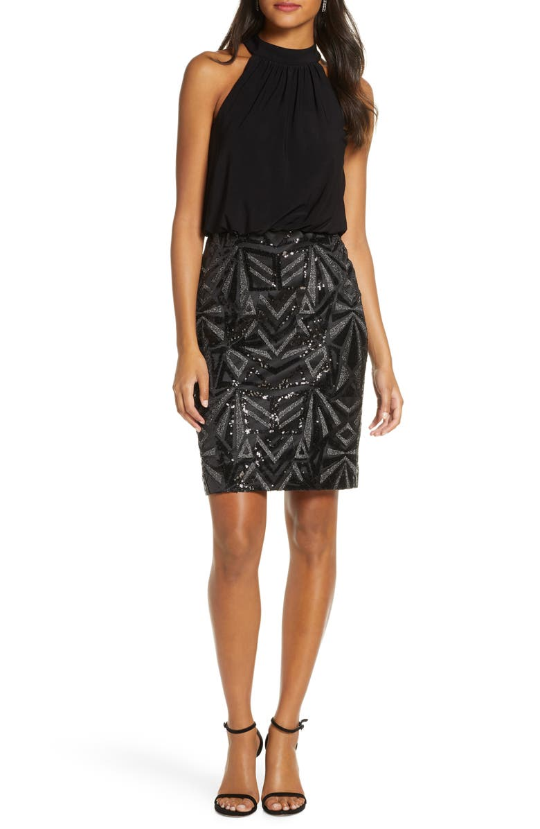 VINCE CAMUTO Halter Neck Geo Embellished Blouson Dress, Main, color, BLK