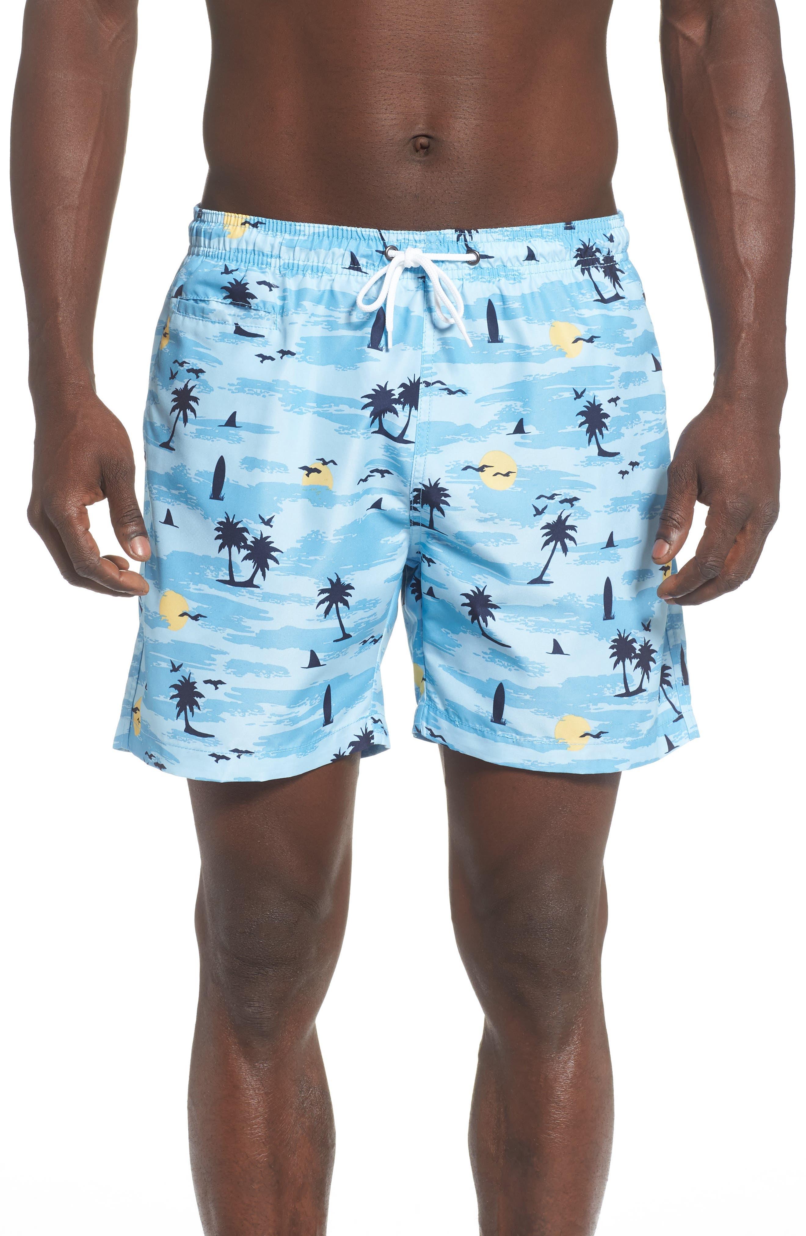 Trunks Surf & Swim Co. Retro Beach Sano Swim Trunks, Blue