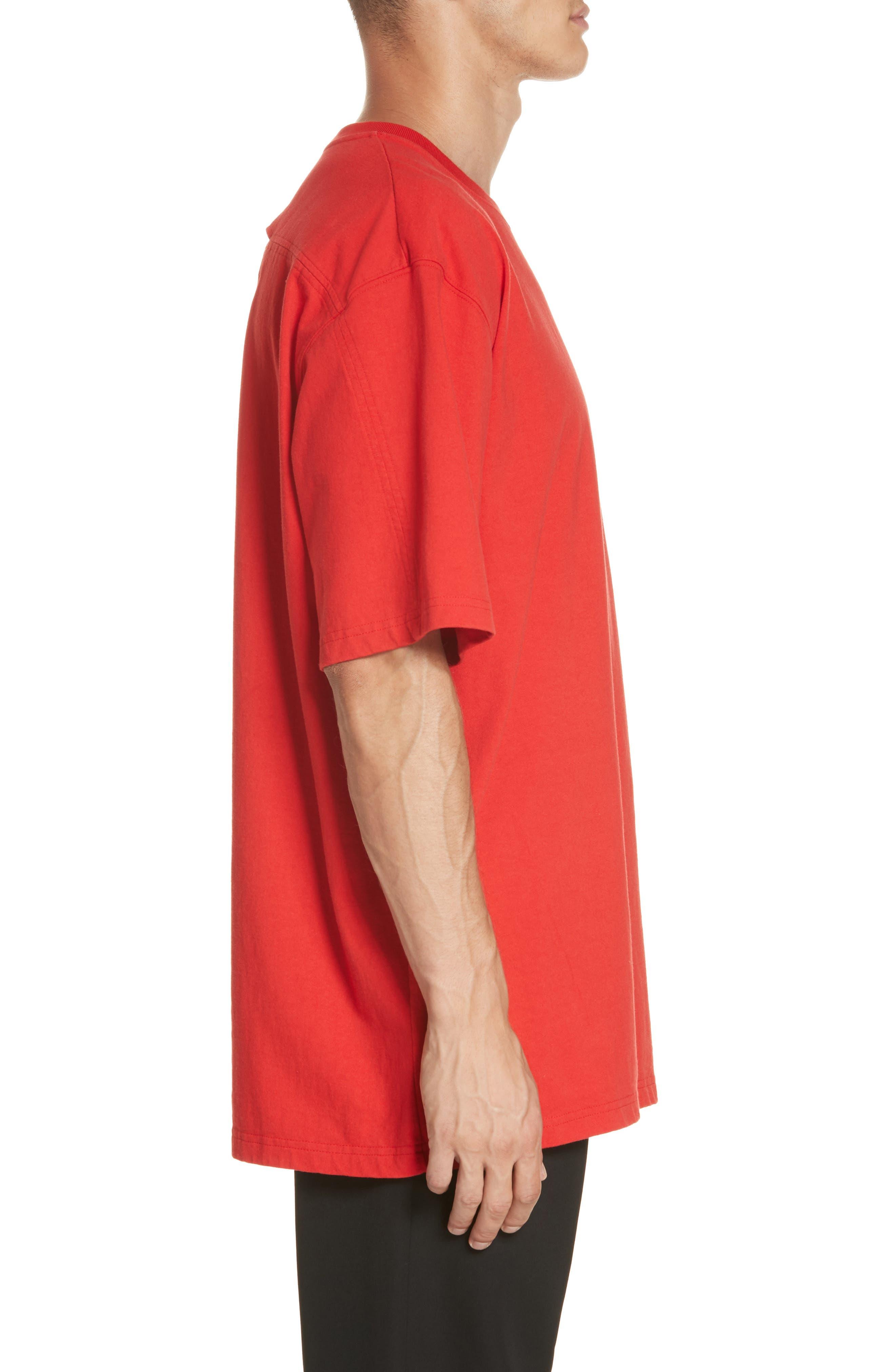 ,                             Oversize T-Shirt,                             Alternate thumbnail 3, color,                             RED