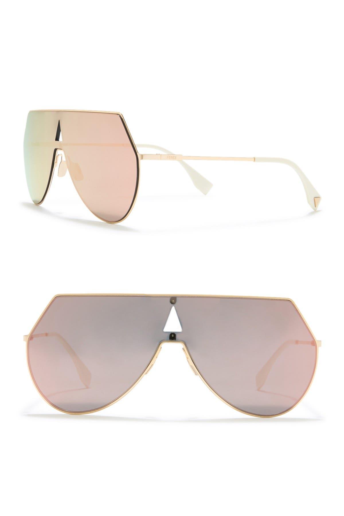 Image of FENDI 99mm Shield Aviator Sunglasses
