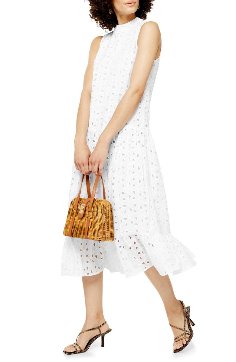 TOPSHOP Chuck-On Broderie Sleeveless Midi Dress, Main, color, WHITE