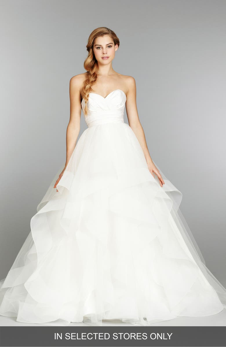 HAYLEY PAIGE 'Londyn' Silk & Tulle Ballgown, Main, color, IVORY