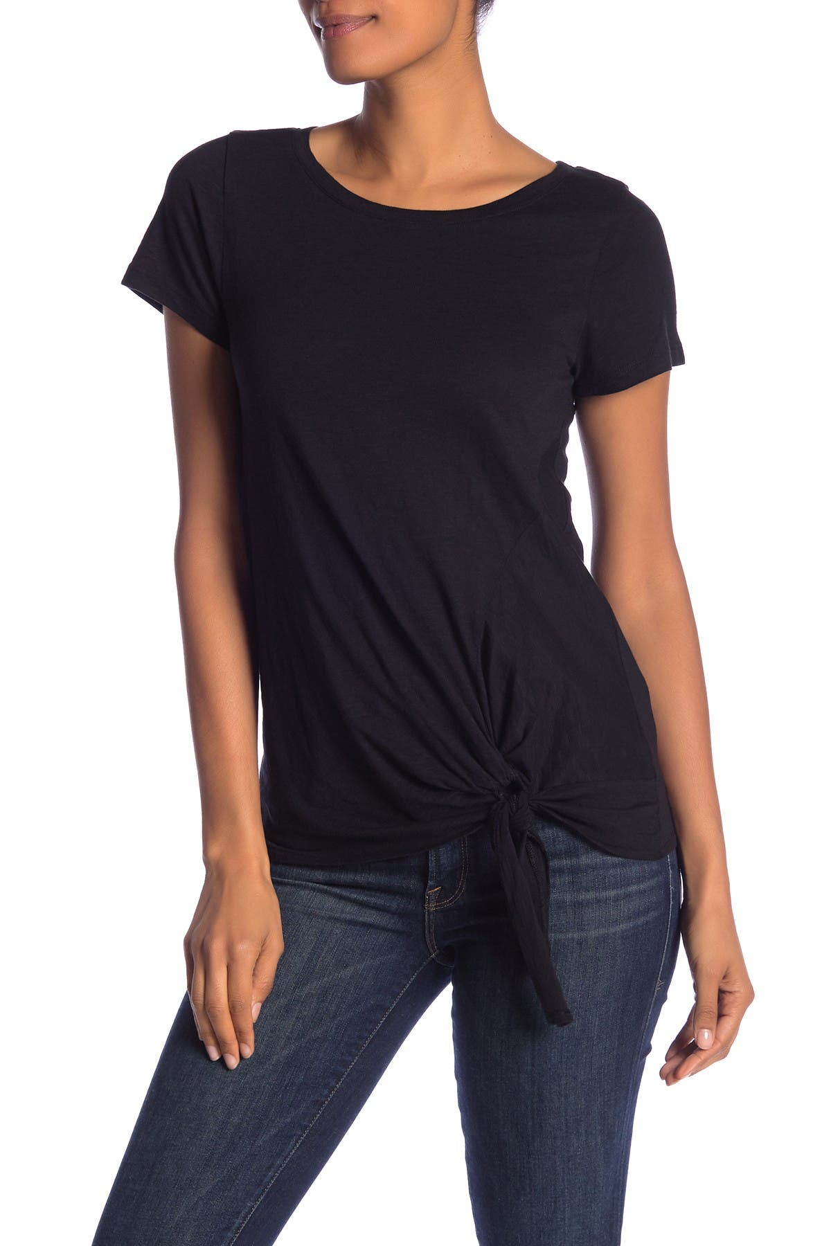 Image of SUSINA Short Sleeve Tie Front T-Shirt