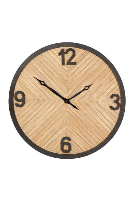 Image of Willow Row Brown Wood Industrial Wall Clock