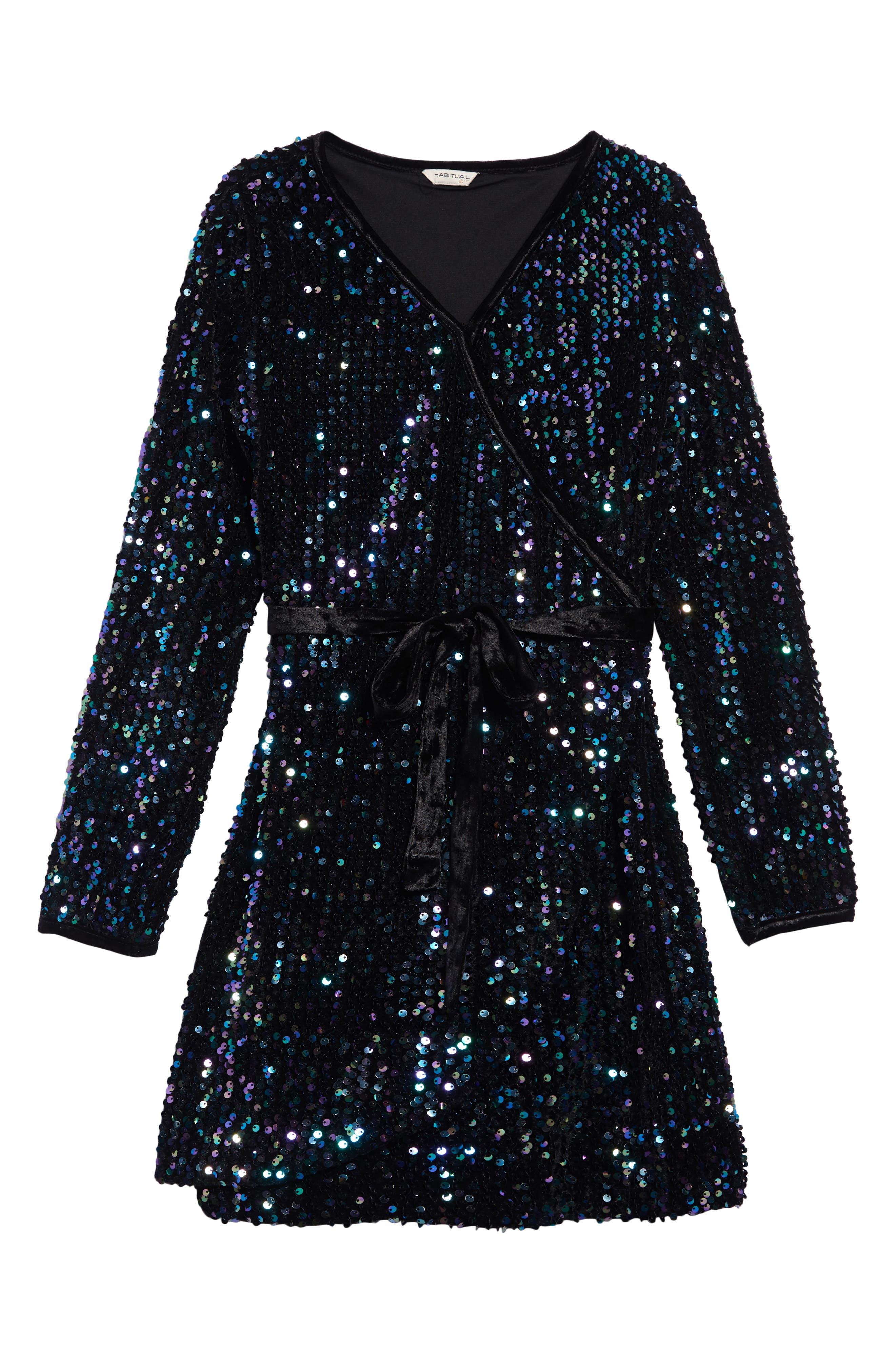 Image of Habitual Kids Raven Sequin Wrap Dress