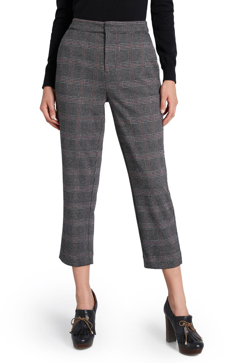 MODCLOTH Plaid Crop Ponte Knit Trousers, Main, color, BLACK PLAID