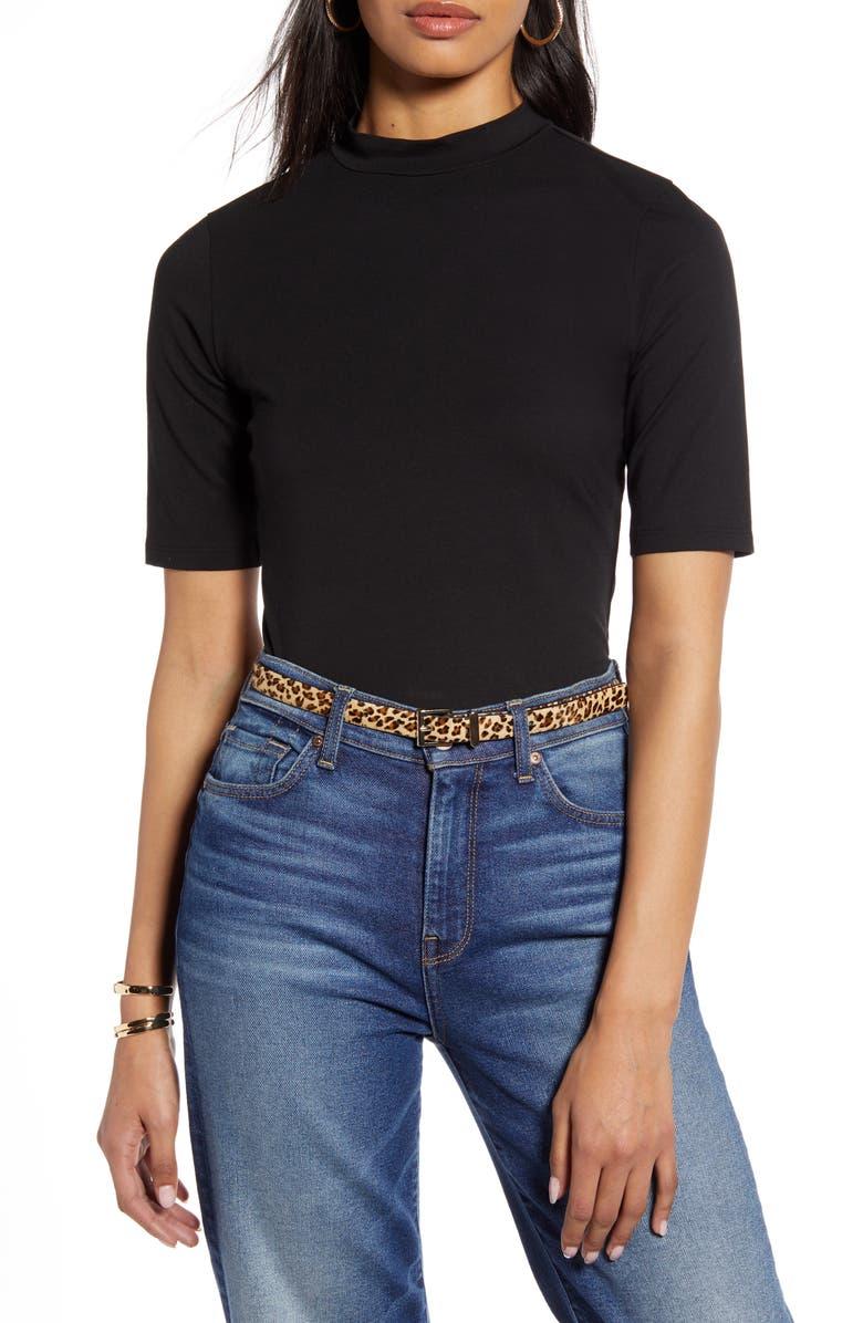 HALOGEN<SUP>®</SUP> Mock Neck Knit Top, Main, color, BLACK