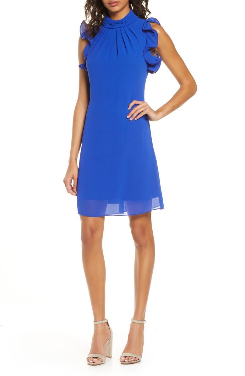 VINCE CAMUTO Ruffle Sleeve Chiffon Shift Dress, Main, color, 430