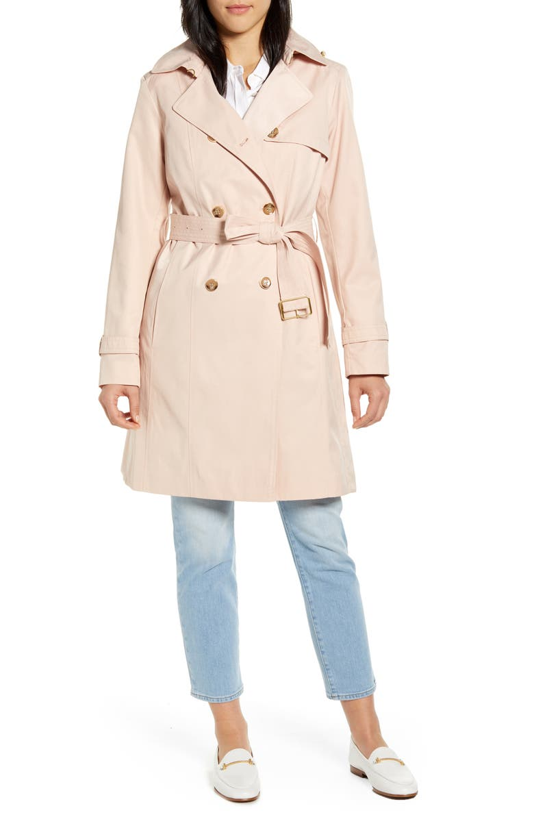COLE HAAN SIGNATURE Hooded Trench Coat, Main, color, NUDE