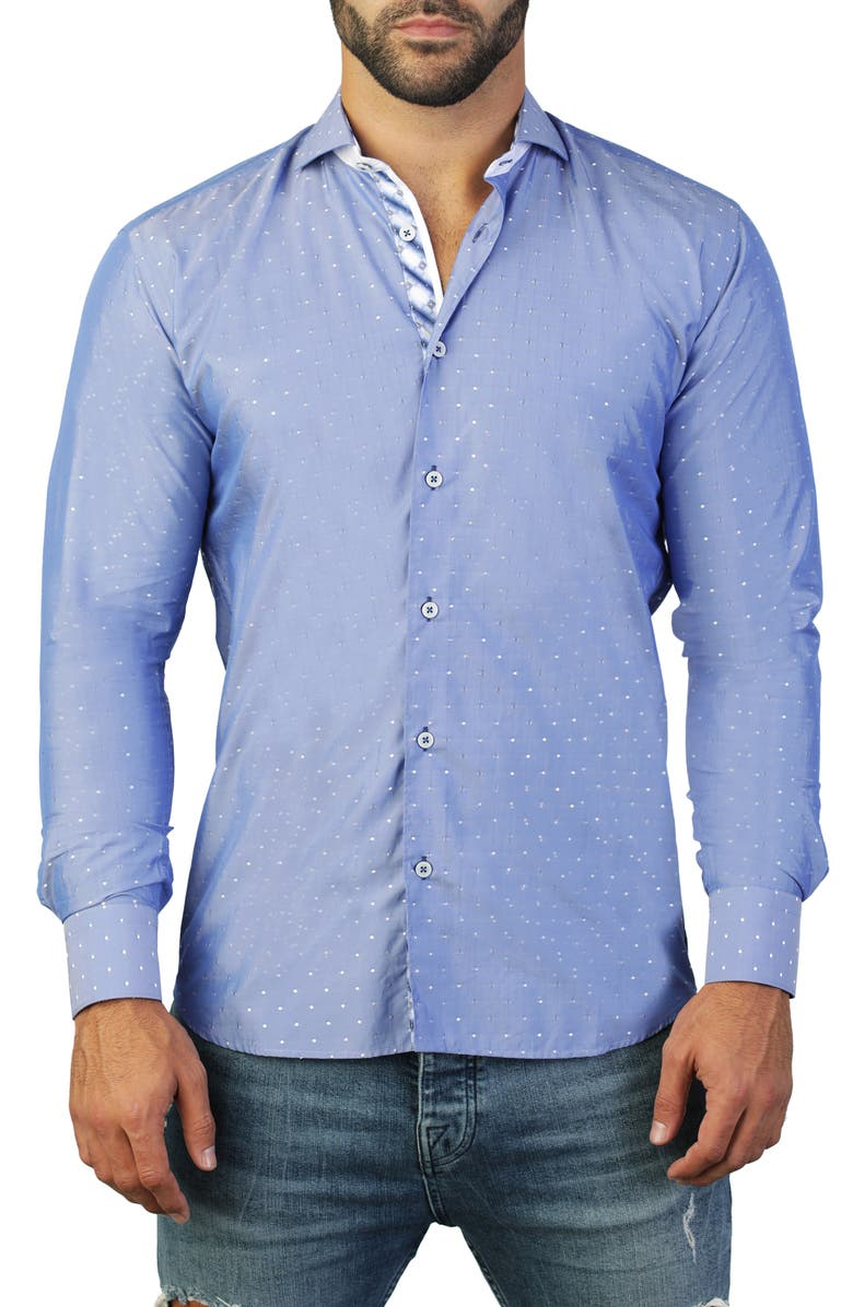 MACEOO Einstein Dot Blue Regular Fit Shirt, Main, color, BLUE