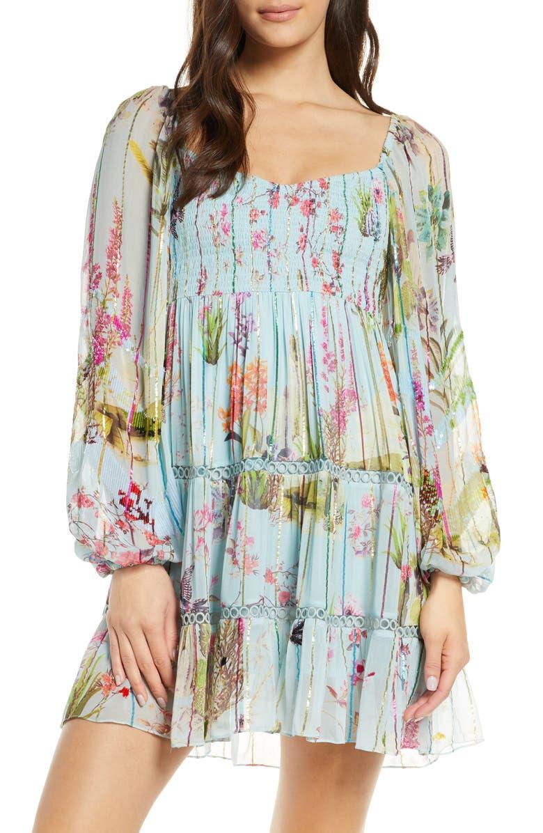 HEMANT & NANDITA Floral & Metallic Rainbow Stripe Long Sleeve Cover-Up Dress, Main, color, POWDER BLUE
