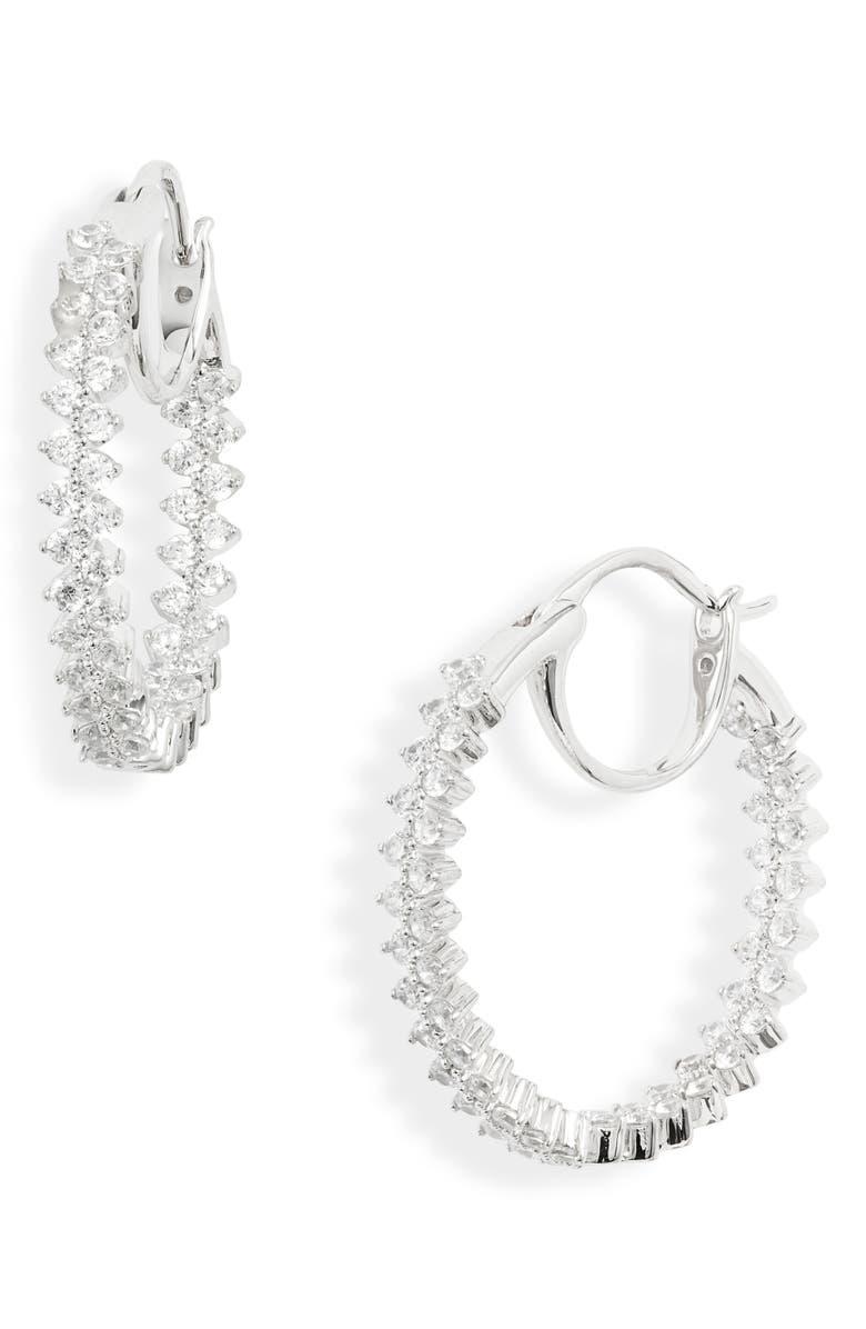 NADRI Mila Inside Out Hoop Earrings, Main, color, RHODIUM