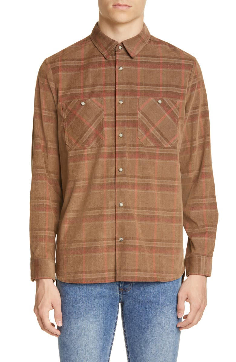 A.P.C. Toundra Plaid Corduroy Shirt, Main, color, BAC BEIGE FONCE