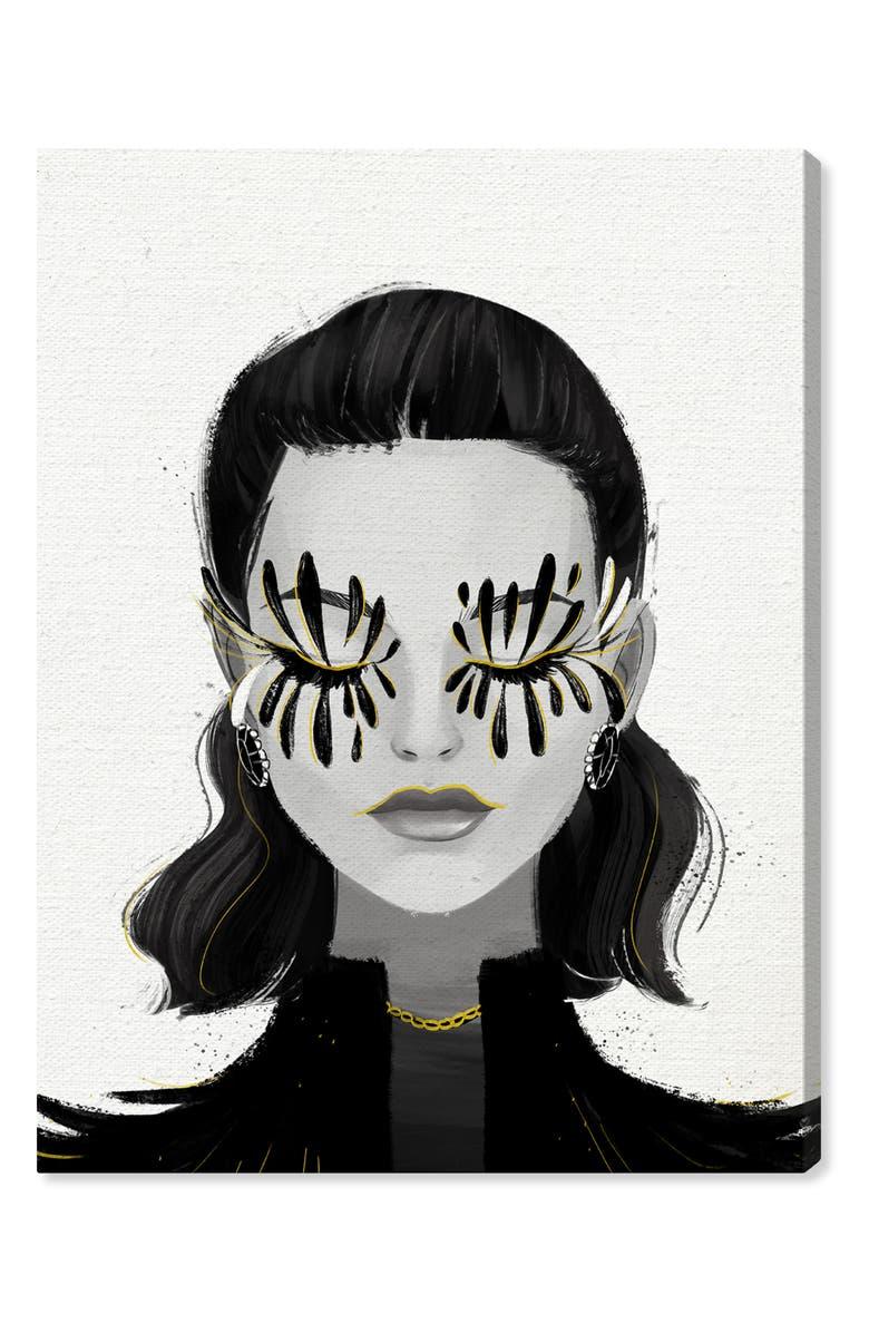 OLIVER GAL Eyelash Petals Girl Canvas Wall Art, Main, color, BLACK