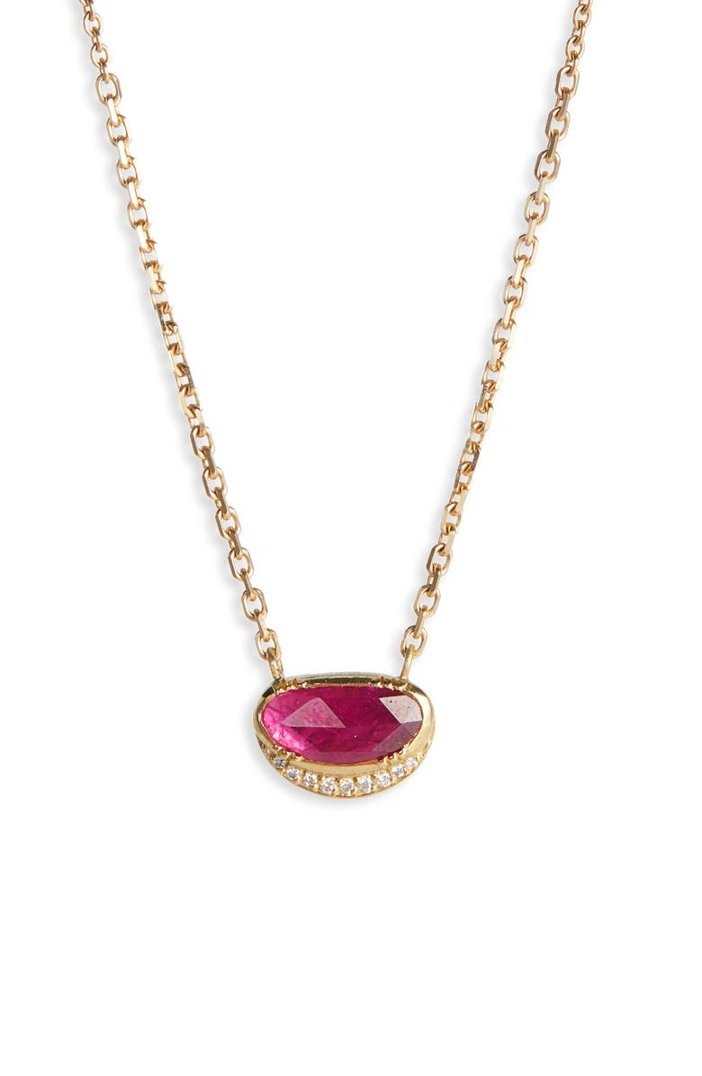 BROOKE GREGSON Ellipse Halo Ruby Necklace, Main, color, 710