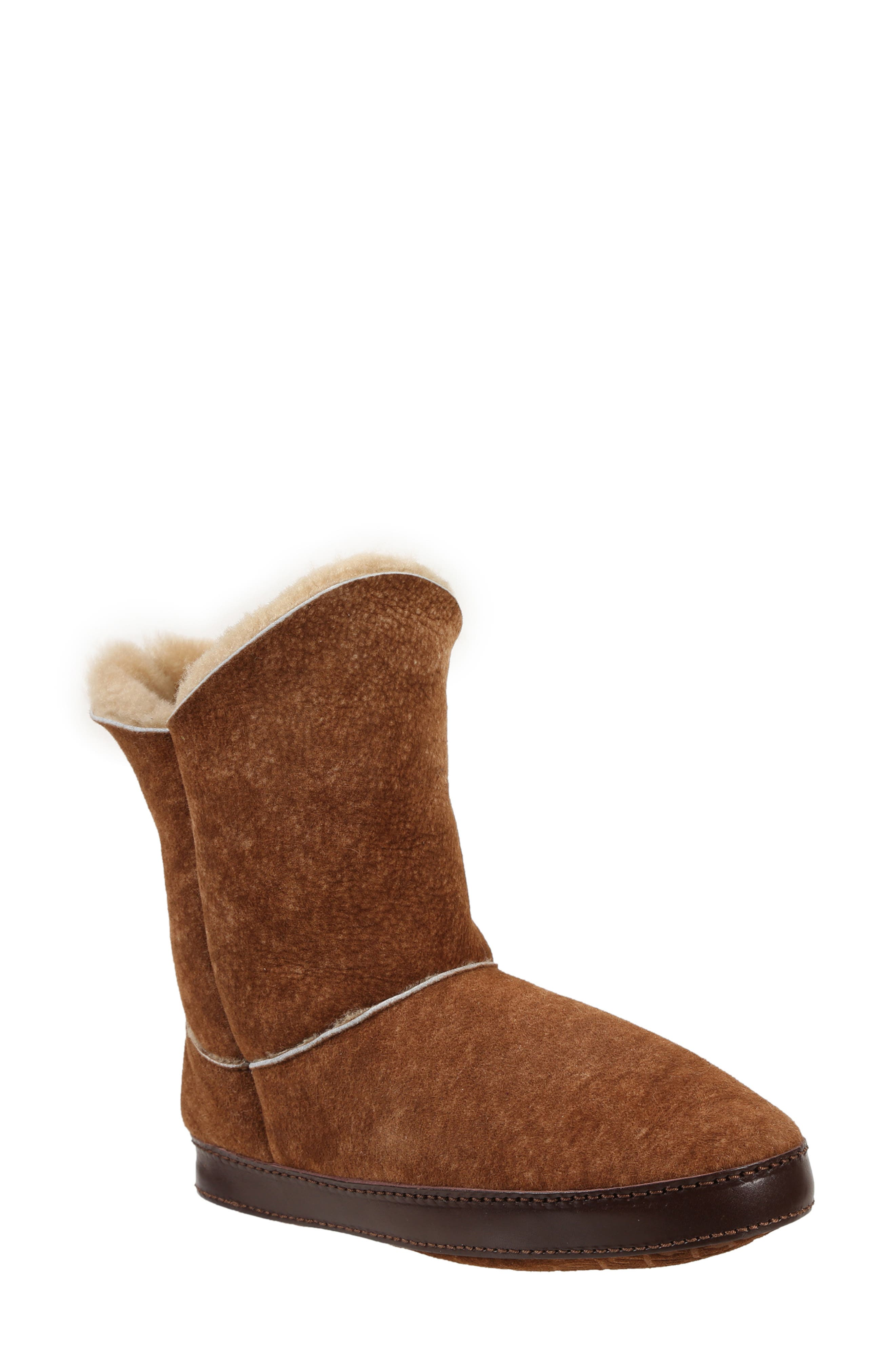 Gemma Genuine Shearling Slipper Bootie, Main, color, STONE WASHED COGNAC