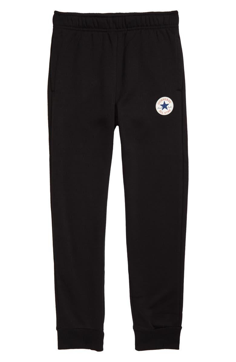 CONVERSE Fleece Jogger Pants, Main, color, BLACK