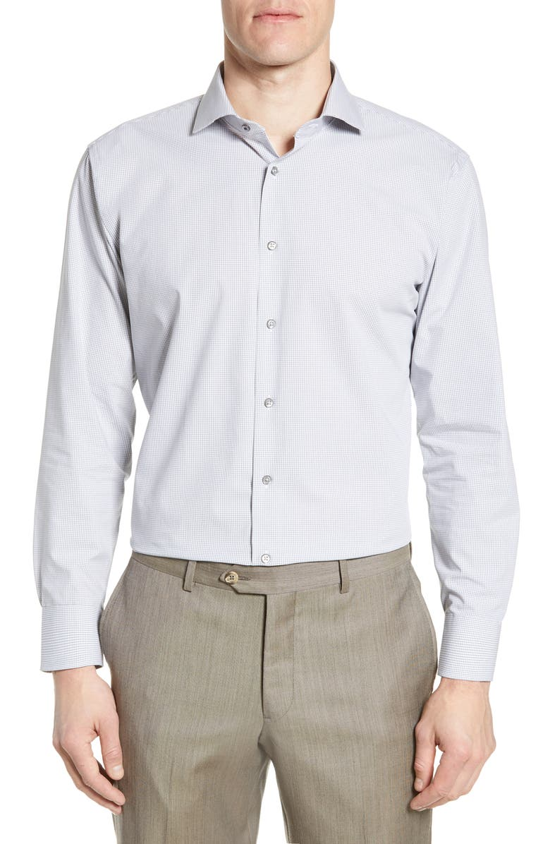 NORDSTROM MEN'S SHOP Tech-Smart Trim Fit Stretch Check Dress Shirt, Main, color, GREY SLEET