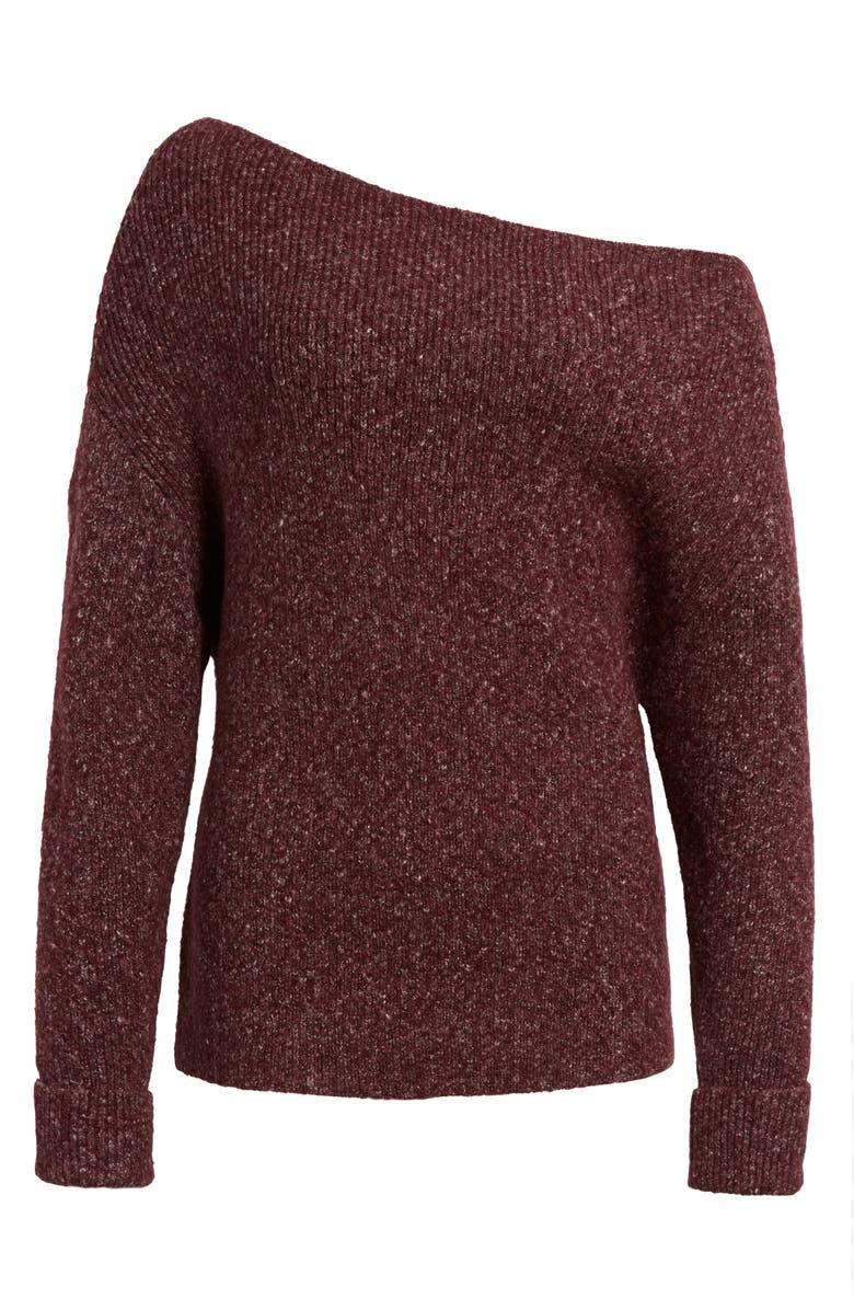 TREASURE & BOND Off the Shoulder Pullover, Main, color, BURGUNDY VINE