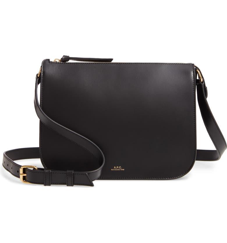 A.P.C. Sac Stephanie Leather Crossbody Bag, Main, color, NOIR