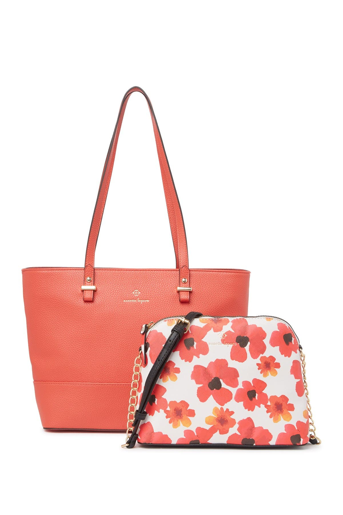 Image of Nanette Lepore Brielle Floral Printed Partial Chain Crossbody Bag