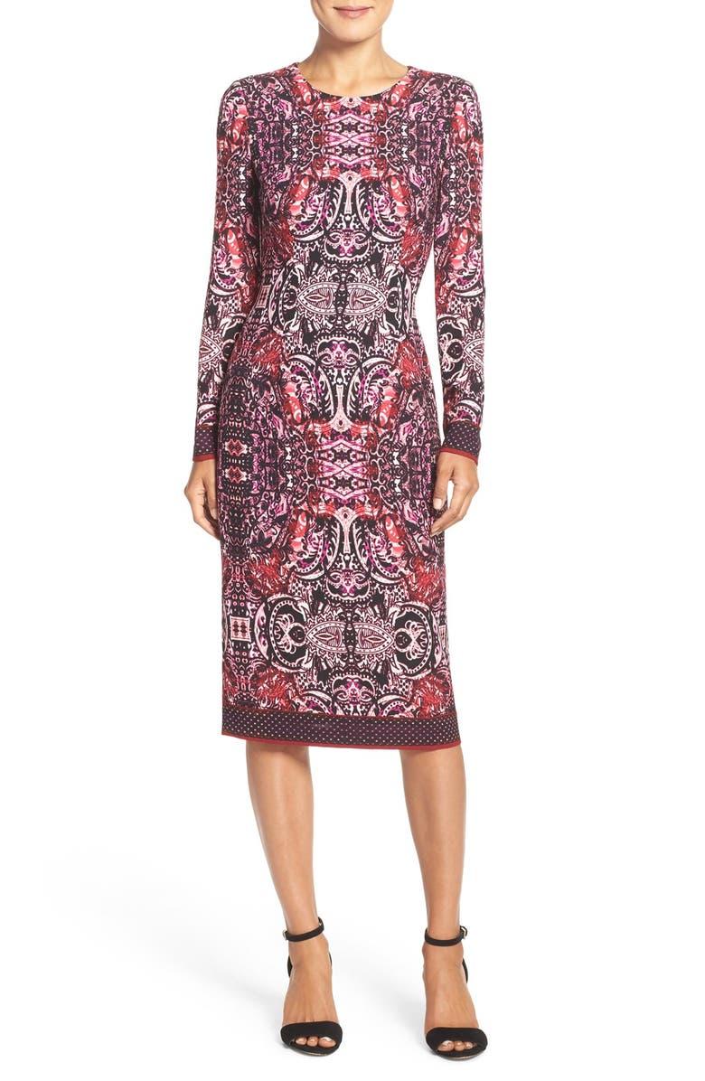 MAGGY LONDON Tie Dye Print Crepe Midi Sheath Dress, Main, color, 002
