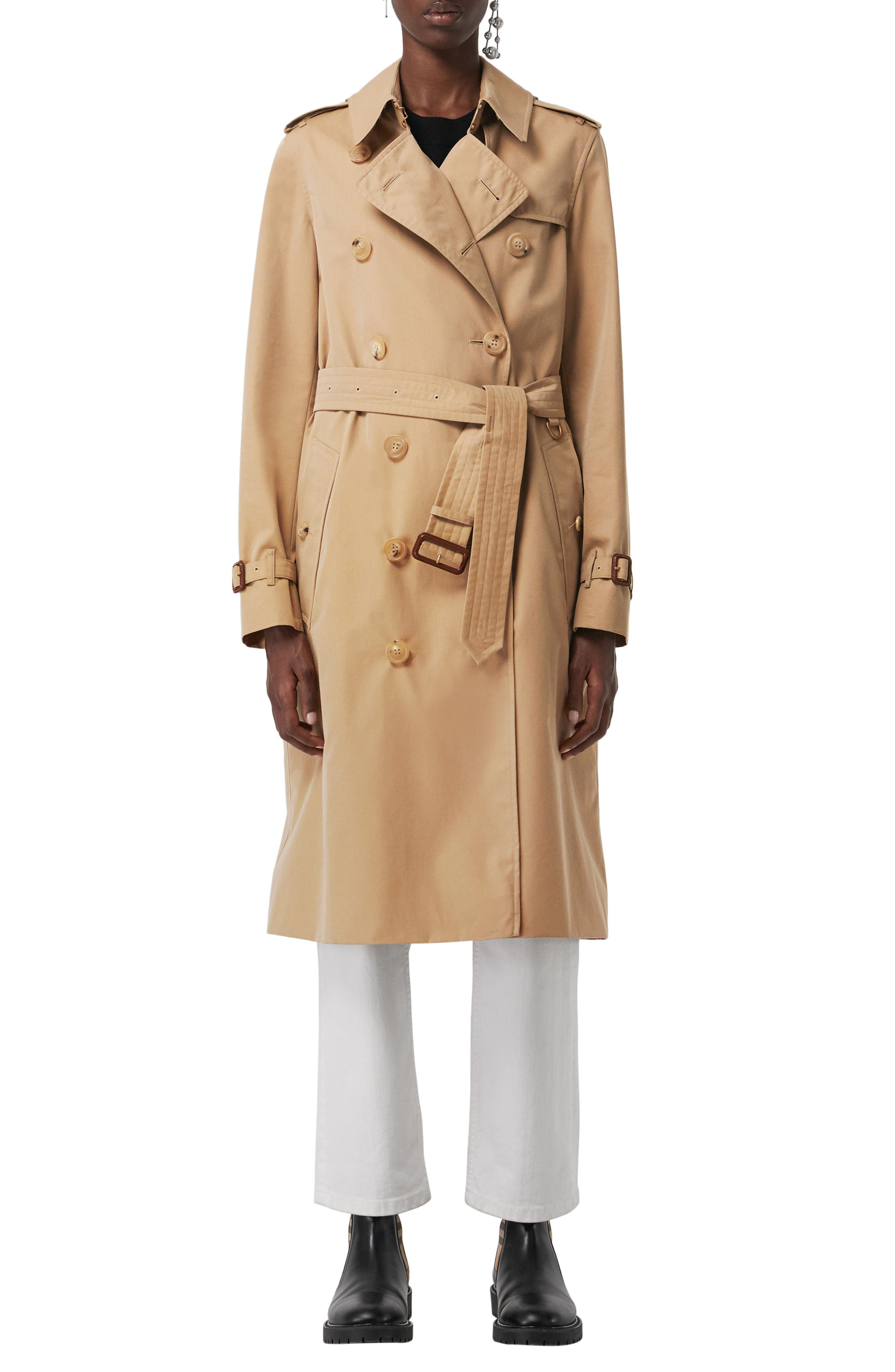 Kensington Long Trench Coat, Main, color, DARK HONEY