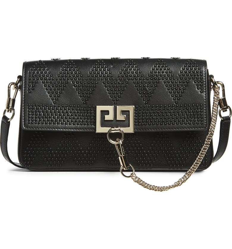 GIVENCHY Chevron Studded Leather Shoulder Bag, Main, color, BLACK