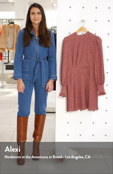 Floral Jacquard Long Sleeve Minidress, sales video thumbnail