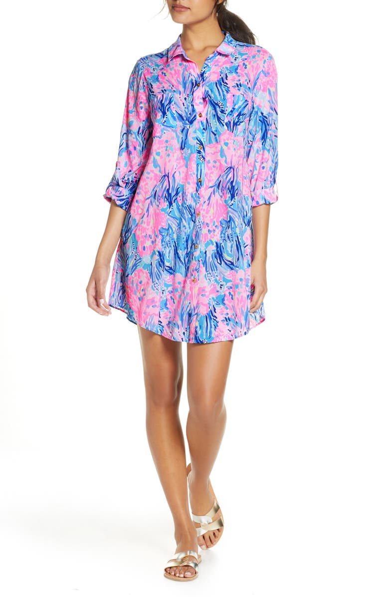 LILLY PULITZER<SUP>®</SUP> Natalie Print Cover-Up Shirtdress, Main, color, 543