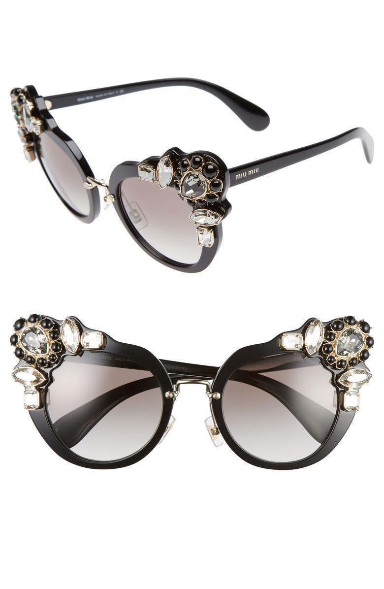 MIU MIU 52mm Cat Eye Sunglasses, Main, color, 001