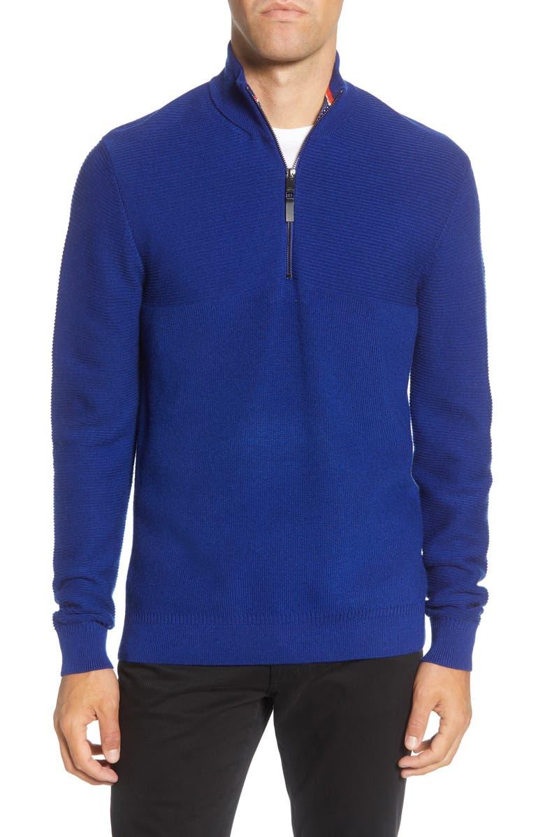 TED BAKER LONDON Mock Neck Half Zip Sweater, Main, color, BLUE